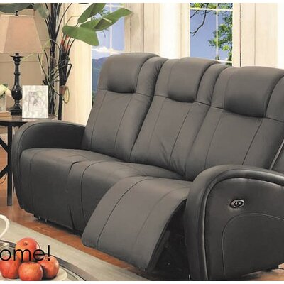 Lance Power Reclining Leather Sofa Upholstery: Charcoal Grey