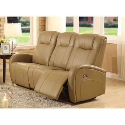 Lance Power Leather Reclining Sofa Upholstery: Sand