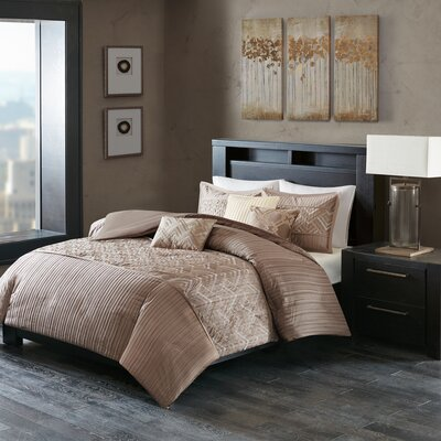 Jason 6 Piece Duvet Cover Set Size: Full/Queen, Color: Taupe
