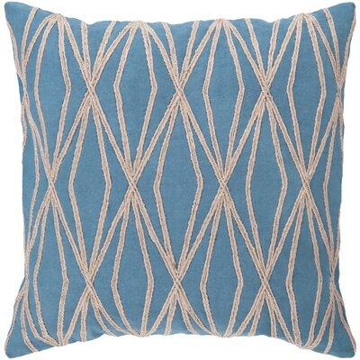 Jamal 100% Cotton Throw Pillow Cover Color: BlueBrown, Size: 22 H x 22 W x 0.25 D