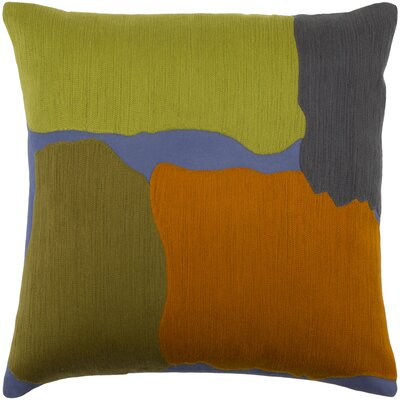 Joeann 100% Cotton Pillow Cover Size: 18 H x 18 W x 0.25 D, Color: Olive/Burnt Orange/Lime/Black/Dark Blue