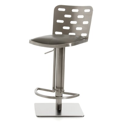 Barchov Adjustable Height Swivel Bar Stool Upholstery: Gray