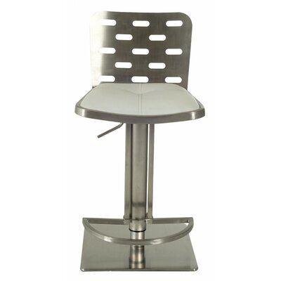 Barchov Adjustable Height Swivel Bar Stool Upholstery: White