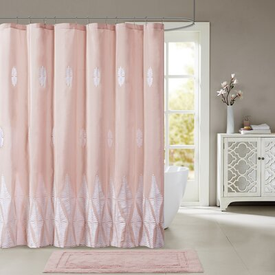 Geddes Embroidered Shower Curtain Color: Pink