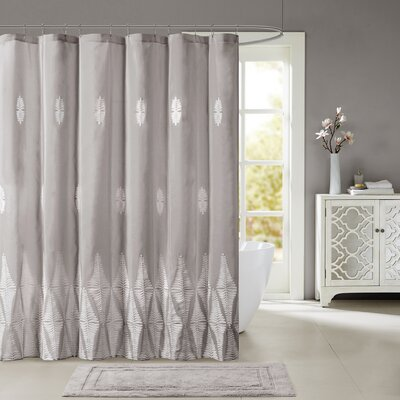 Geddes Embroidered Shower Curtain Color: Gray