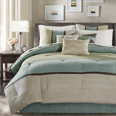 Nicolette 7 Piece Comforter Set Size: Queen, Color: Aqua
