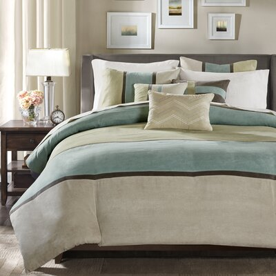 Nicolette 6 Piece Duvet Cover Set Size: Full/Queen, Color: Aqua