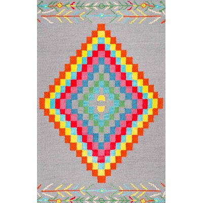 Hand-Tufted Gray/Red/Yellow Area Rug Rug Size: 76 x 96