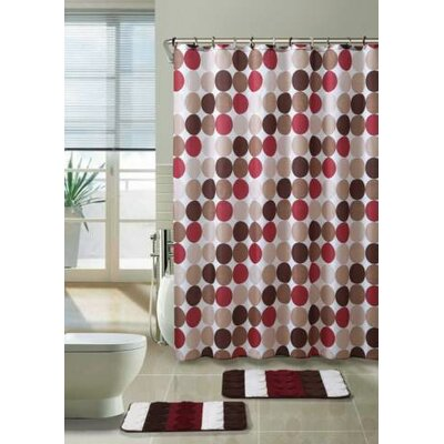 Lucien 3 Piece Shower Curtain Set Color: Red