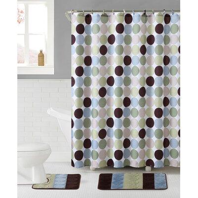 Lucien 3 Piece Shower Curtain Set Color: Blue