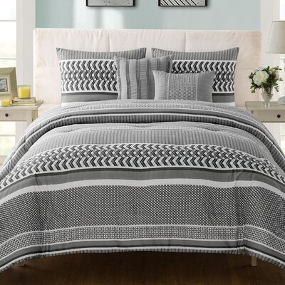Luke 5 Piece Comforter Set Size: King, Color: Gray