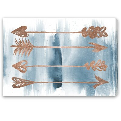 Arrows Rose Gold Painting Print on Canvas