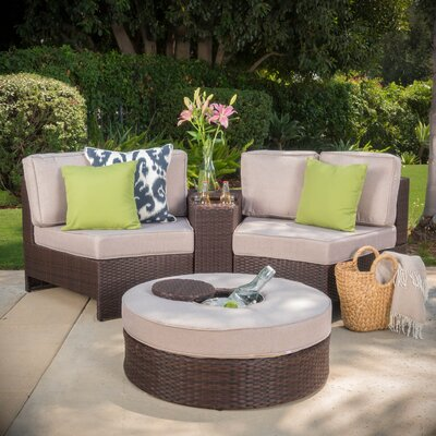 Gavin 4 Piece Sectional Seating Group with Ice Bucket Ottoman Color: Beige