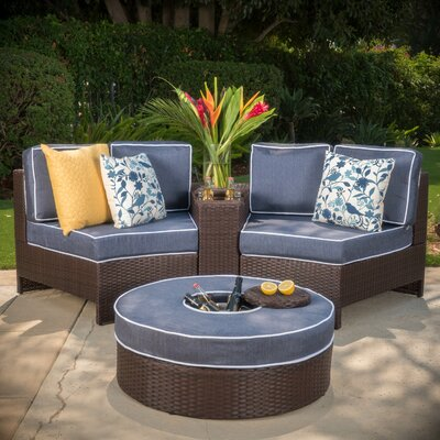 Gavin 4 Piece Sectional Seating Group with Ice Bucket Ottoman Color: Navy Blue