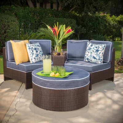 Daniela 4 Piece Sectional Seating Group with Ottoman Color: Navy Blue
