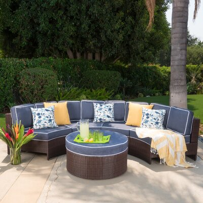 Daniela 5 Piece Sectional Seating Group with Ice Bucket Ottoman Color: Navy Blue