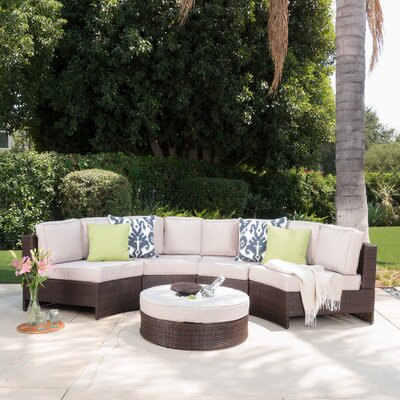 Daniela 5 Piece Sectional Seating Group with Ice Bucket Ottoman Color: Beige