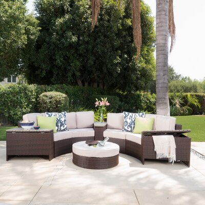 Daniela 8 Piece Sectional Seating Group with Ice Bucket Ottoman Color: Beige