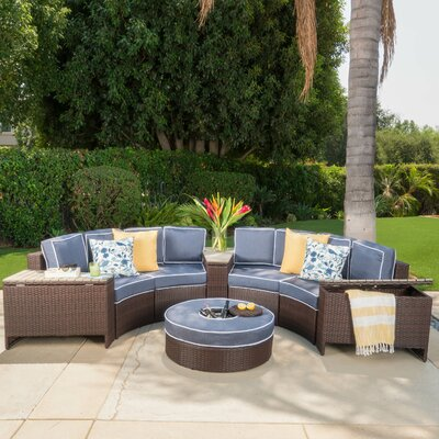 Daniela 8 Piece Sectional Seating Group with Ice Bucket Ottoman Color: Navy Blue