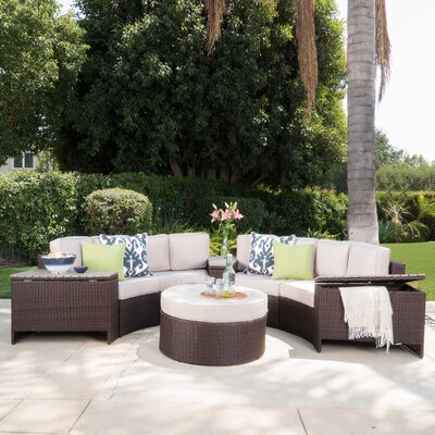 Daniela 8 Piece Sectional Seating Group with Ottoman Color: Beige