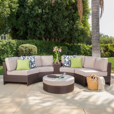 Daniela 6 Piece Sectional Seating Group with Ice Bucket Ottoman Color: Beige