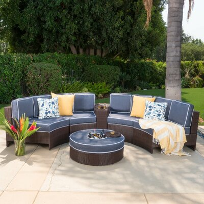 Daniela 6 Piece Sectional Seating Group with Ice Bucket Ottoman Color: Navy Blue