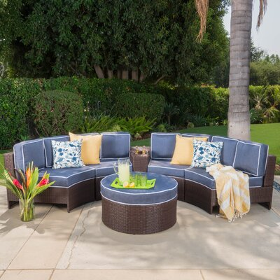 Daniela 6 Piece Sectional Seating Group with Ottoman Color: Navy Blue