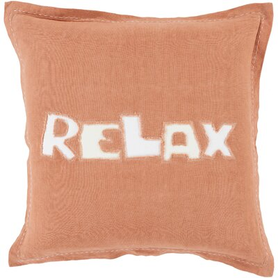 Jade Relax 100% Linen Throw Pillow Cover Size: 18 H x 18 W x 0.25 D, Color: OrangeNeutral