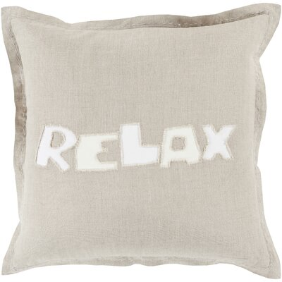 Jade Relax 100% Linen Throw Pillow Cover Size: 18 H x 18 W x 0.25 D, Color: Neutral