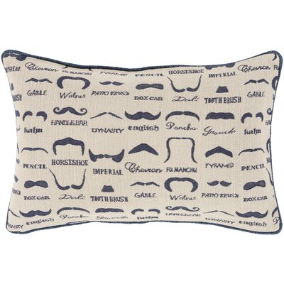 Georgette Wax that Stache Lumbar Pillow Cover Color: BlueNeutral