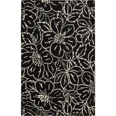 Estela Flower Black/Ivory Rug Rug Size: Rectangle 76 x 96
