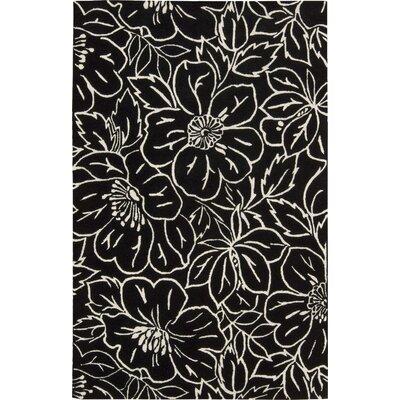 Estela Flower Black/Ivory Rug Rug Size: 36 x 56