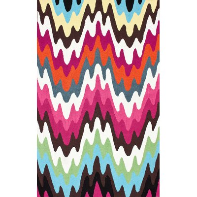 Felecia Chevron Hand-Tufted Pink/Blue Area Rug Rug Size: 6 x 9