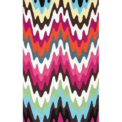 Felecia Chevron Hand-Tufted Pink/Blue Area Rug Rug Size: 6' x 9'