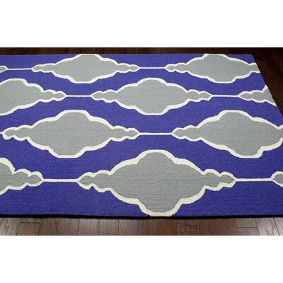 Evangelina Hand-Hooked Blue/Gray Area Rug Rug Size: Rectangle 5 x 8