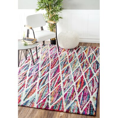 Helene Trellis Blue/Red Area Rug Rug Size: Rectangle 6 7 x 9