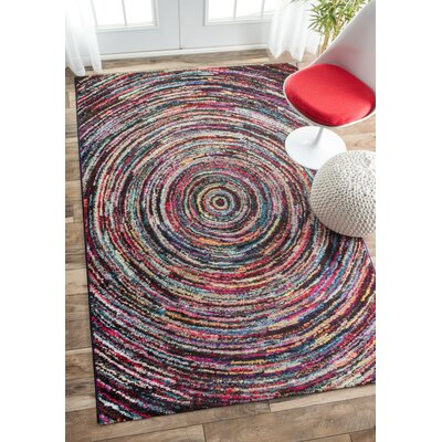 Jaime Ripples Black/Pink Area Rug Rug Size: Rectangle 8 x 10