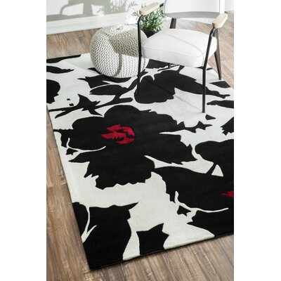 Joni Hand-Tufted Black/White Area Rug Rug Size: Round 6