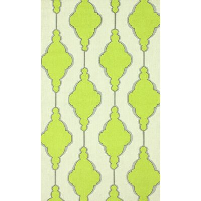 Reva Hand-Hooked Wool Lime Area Rug Rug Size: Rectangle 6 x 9