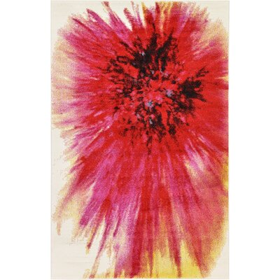 Elvia Red Area Rug Rug Size: 5 x 8