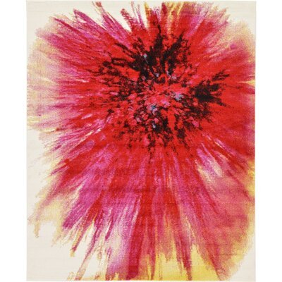 Elvia Red Area Rug Rug Size: 33 x 53