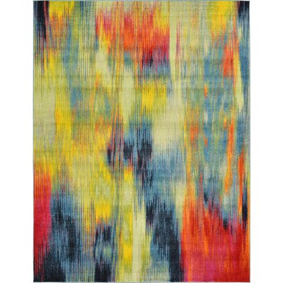 Elvia Red/Navy Blue Area Rug Rug Size: 9 x 12