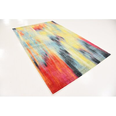 Elvia Red/Navy Blue Area Rug Rug Size: Rectangle 5 x 8
