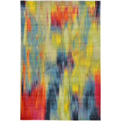 Elvia Red/Navy Blue Area Rug Rug Size: 6 x 9