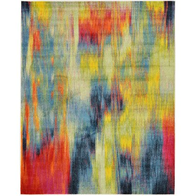 Elvia Red/Navy Blue Area Rug Rug Size: Rectangle 8' x 10'