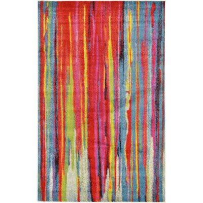 Elvia Blue/Red Area Rug Rug Size: 5 x 8