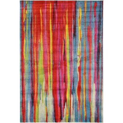 Elvia Blue/Red Area Rug Rug Size: Rectangle 6' x 9'