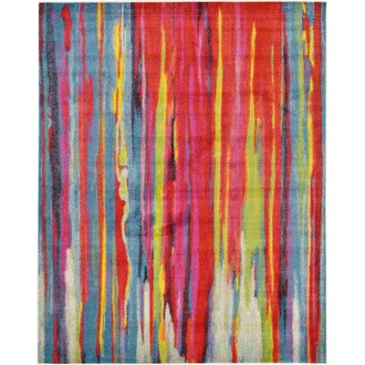 Elvia Blue/Red Area Rug Rug Size: Rectangle 8' x 10'