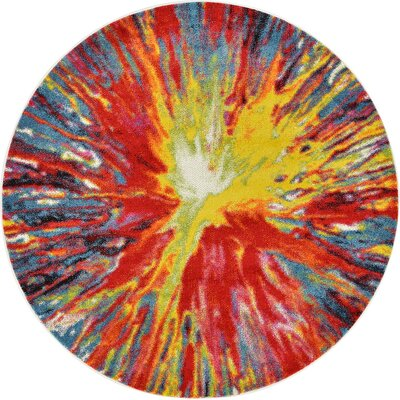 Elvia Yellow/Red Area Rug Rug Size: Round 6