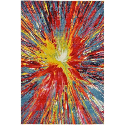 Elvia Yellow/Red Area Rug Rug Size: Rectangle 6 x 9